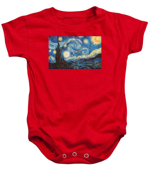Tribute to Van Gogh - 3 - Baby Onesie - ALEFBET - THE HEBREW LETTERS ART GALLERY