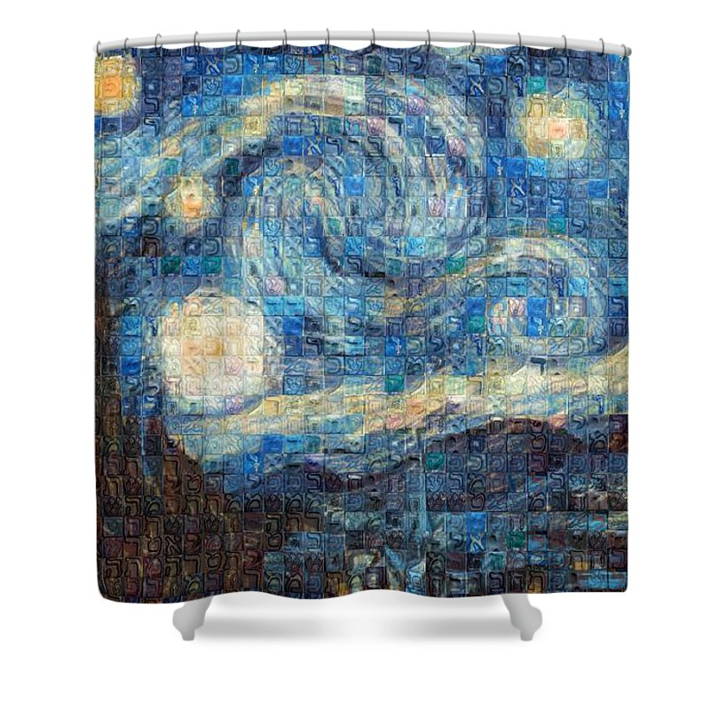 Tribute to Van Gogh - 3 - Shower Curtain - ALEFBET - THE HEBREW LETTERS ART GALLERY
