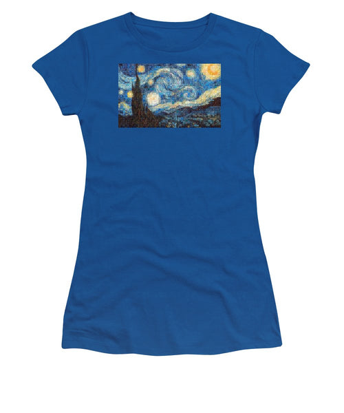 Tribute to Van Gogh - 3 - Women's T-Shirt - ALEFBET - THE HEBREW LETTERS ART GALLERY