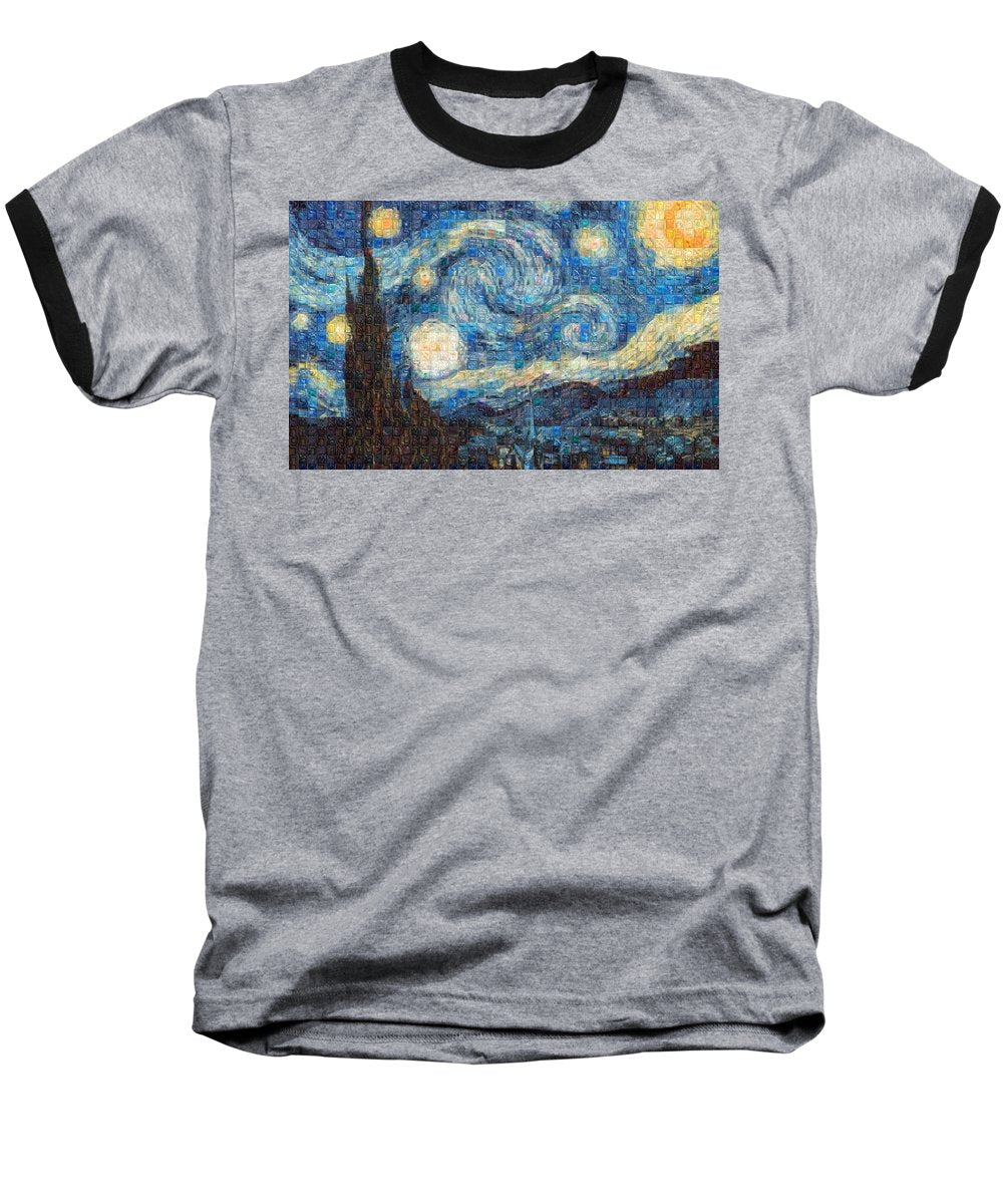 Tribute to Van Gogh - 3 - Baseball T-Shirt - ALEFBET - THE HEBREW LETTERS ART GALLERY