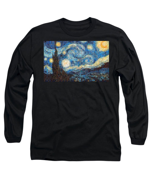 Tribute to Van Gogh - 3 - Long Sleeve T-Shirt - ALEFBET - THE HEBREW LETTERS ART GALLERY
