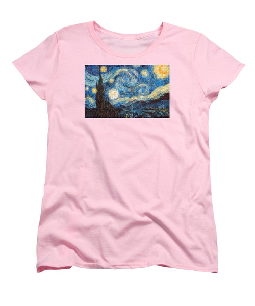 Tribute to Van Gogh - 3 - Women's T-Shirt (Standard Fit) - ALEFBET - THE HEBREW LETTERS ART GALLERY