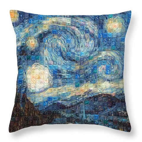 Tribute to Van Gogh - 3 - Throw Pillow - ALEFBET - THE HEBREW LETTERS ART GALLERY