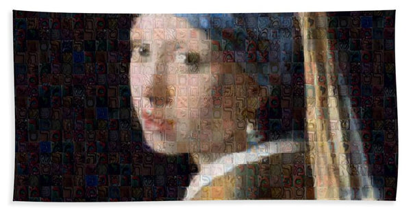 Tribute to Vermeer - Beach Towel - ALEFBET - THE HEBREW LETTERS ART GALLERY