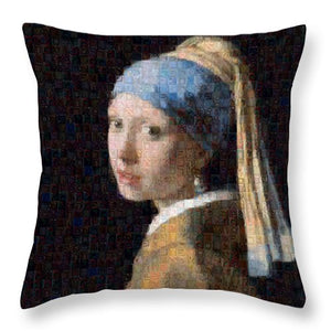 Tribute to Vermeer - Throw Pillow - ALEFBET - THE HEBREW LETTERS ART GALLERY