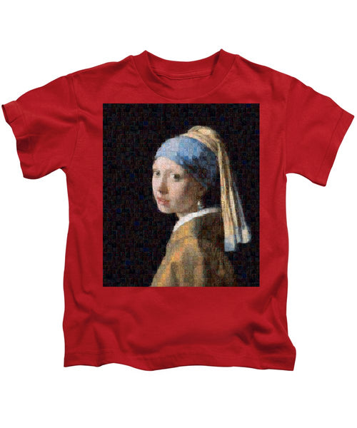 Tribute to Vermeer - Kids T-Shirt - ALEFBET - THE HEBREW LETTERS ART GALLERY