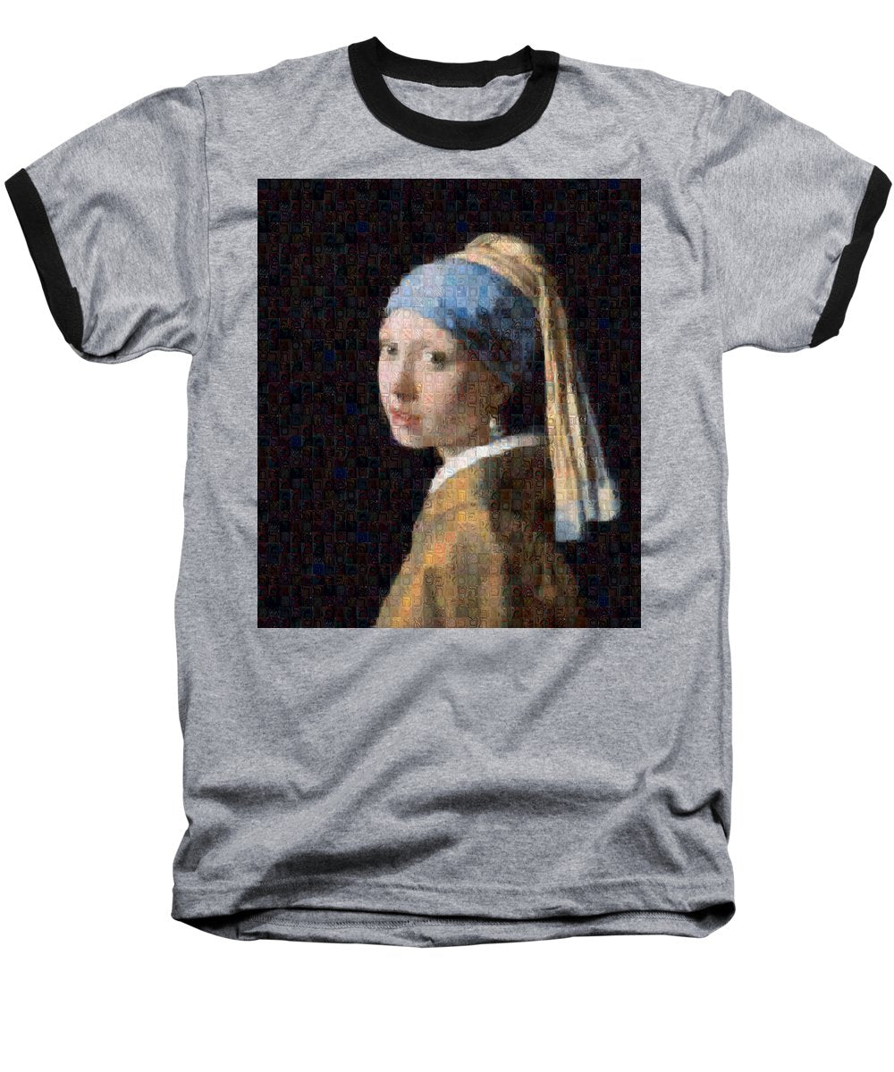 Tribute to Vermeer - Baseball T-Shirt - ALEFBET - THE HEBREW LETTERS ART GALLERY