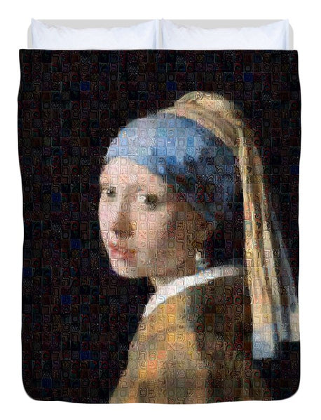 Tribute to Vermeer - Duvet Cover - ALEFBET - THE HEBREW LETTERS ART GALLERY