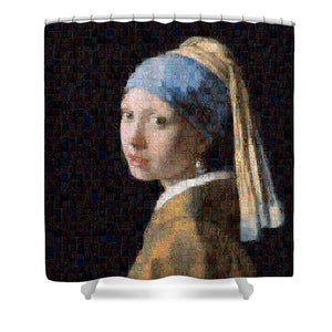 Tribute to Vermeer - Shower Curtain - ALEFBET - THE HEBREW LETTERS ART GALLERY