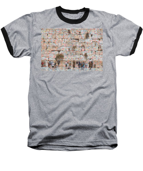 Western Wall - Baseball T-Shirt - ALEFBET - THE HEBREW LETTERS ART GALLERY