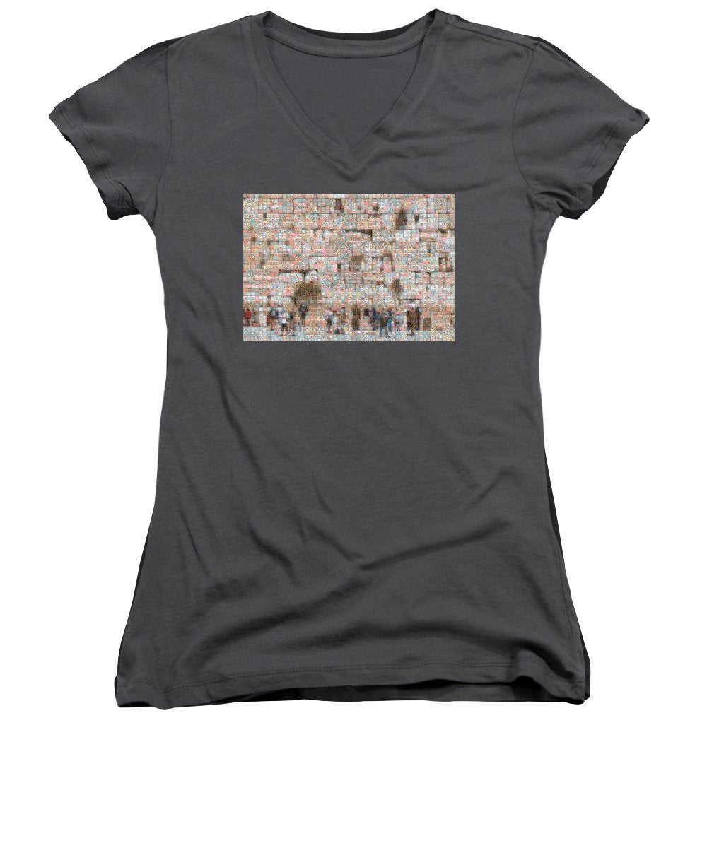 Western Wall - Women's V-Neck - ALEFBET - THE HEBREW LETTERS ART GALLERY