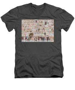Western Wall - Men's V-Neck T-Shirt - ALEFBET - THE HEBREW LETTERS ART GALLERY