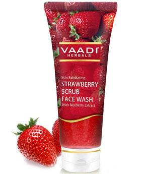 Skin Exfoliating Organic Strawberry Scrub Face Wash with Mulberry Extract- Removes Dead Skin - Deeply Nourishes Skin (60ml/ 21.1 fl oz)