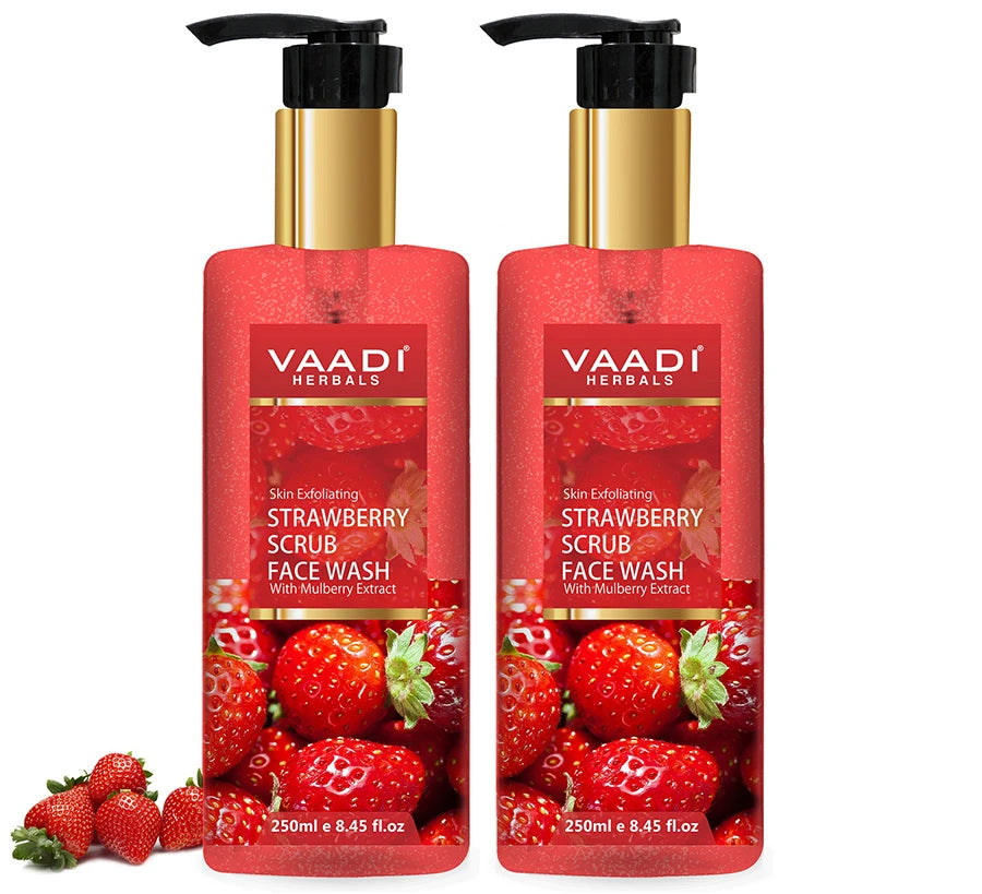 Skin Exfoliating Organic Strawberry Scrub Face Wash with Mulberry Extract- Removes Dead Skin - Deeply Nourishes Skin ( 2 x 250 ml/8.45 fl oz)