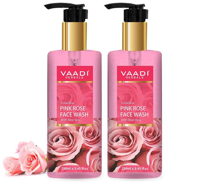 Insta Glow Pink Rose Face wash with Aloe vera extract ( 2 x 250 ml/8.45 fl oz)
