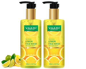 Skin Hydrating Organic Lemon Face Wash with Jojoba Beads - Removes Excess Oil - Prevents Acne ( 2 x 250 ml/8.45 fl oz)