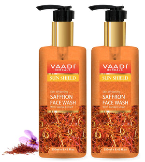 Skin Whitening Organic Saffron Face Wash with Sandalwood - Protects Skin from Sun - Lightens Pigmentation ( 2 x 250 ml/8.45 fl oz)