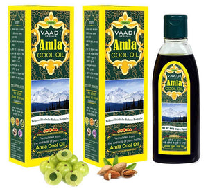 Organic Brahmi Amla Cool Oil - Strengthens and Nourishes Hair - Relieves Stress - Promotes Sound Sleep (2 x 200ml/7 fl oz)