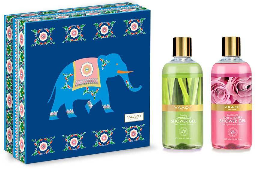 Enduring Fragrance Organic Shower Gel Gift Box - Enticing Lemongrass & Enchanting Rose and Mogra 300 ml - Exotic Bathing Experience