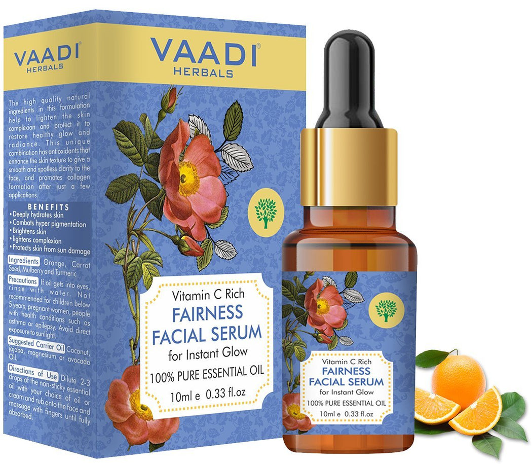 Organic Vitamin C Fairness Facial Serum - Brightens Skin, Lightens Complexion, Protects from Sun Damage (10 ml/ 0.33 oz)