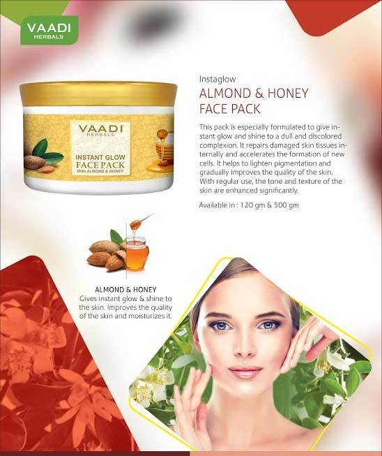 Organic InstaGlow Face Pack with Almond & Honey - Lightens Pigmentation - Gives Instant Glow (600 gms /21.2 oz)