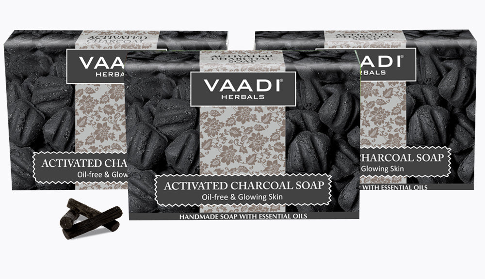 Activated Charcoal Soap - Detoxifies Skin - Brighten The Skin Tone  (3 x 75 gms / 2.7 oz)