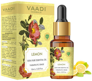 Organic Lemon Essential Oil - Lightens Skin, Reduces Dandruff, Uplifts Mood - 100% Pure Therapeutic Grade (10 ml/ 0.33 oz)