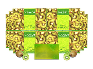 Exotic Organic Kiwi Soap with Green Apple Extract - Gently Clears Skin- Makes Skin Glowing (12 x 75 gms / 2.7 oz)