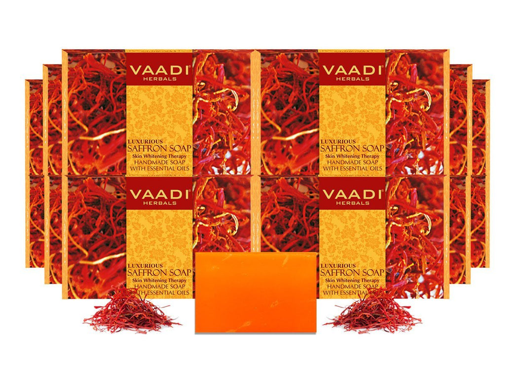 Luxurious Organic Saffron Soap - Skin Whitening Therapy - Evens Skin Tone - Lightens Marks (12 x 75 gms / 2.7 oz)