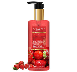 Skin Exfoliating Organic Strawberry Scrub Face Wash with Mulberry Extract- Removes Dead Skin - Deeply Nourishes Skin (250 ml/8.45 fl oz)