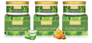 Organic All Purpose Cream with Aloe Vera, Honey & Manjistha - Lightens Pigmentation - Improves Complexion (3 x 150 gms/ 5.3 oz)