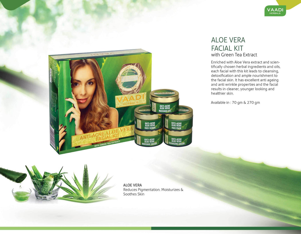 Anti Acne Organic Aloe Vera Facial Kit - Clears Skin Deep Impurities - Protects & Hydrates Skin (270 gms/9.6 oz)