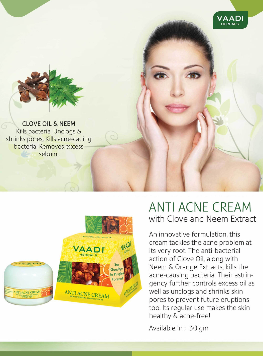 Organic Anti Acne Cream with Clove Oil & Neem Extract - Anti Bacterial Therapy - Controls Excess Oil - Prevents Acne (30 gms / 1.1 oz)