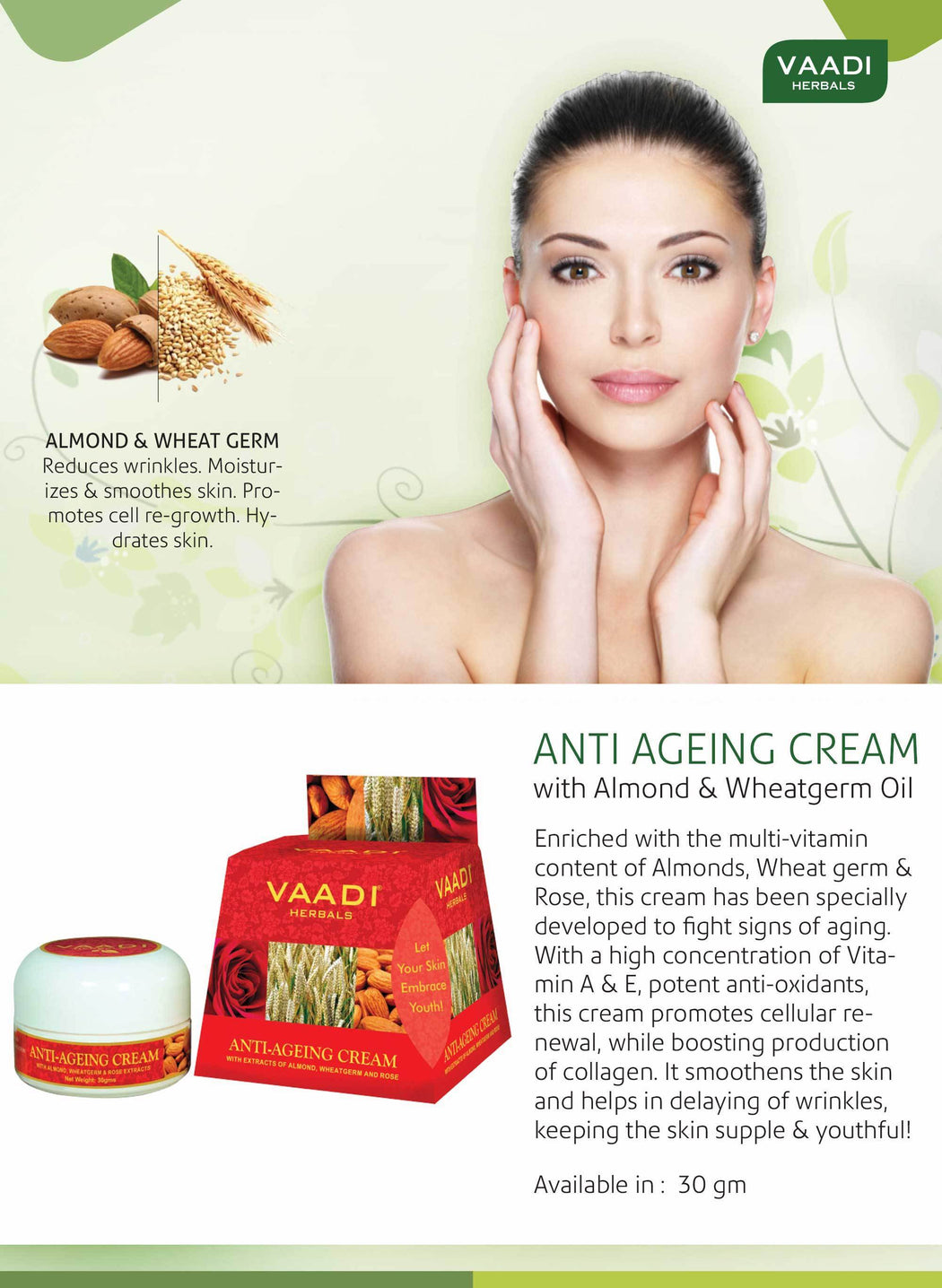 Organic Anti Ageing Cream with Almond, Wheatgerm - Boosts Collagen & Delays Wrinkles - Keeps Skin Soft & Youthful ( 30 gms / 1.1 oz)