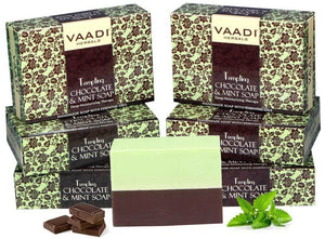 Tempting Organic Chocolate & Mint Soap - Deep Moisturising - Releives Irritated Skin (6 x 75 gms / 2.7 oz)
