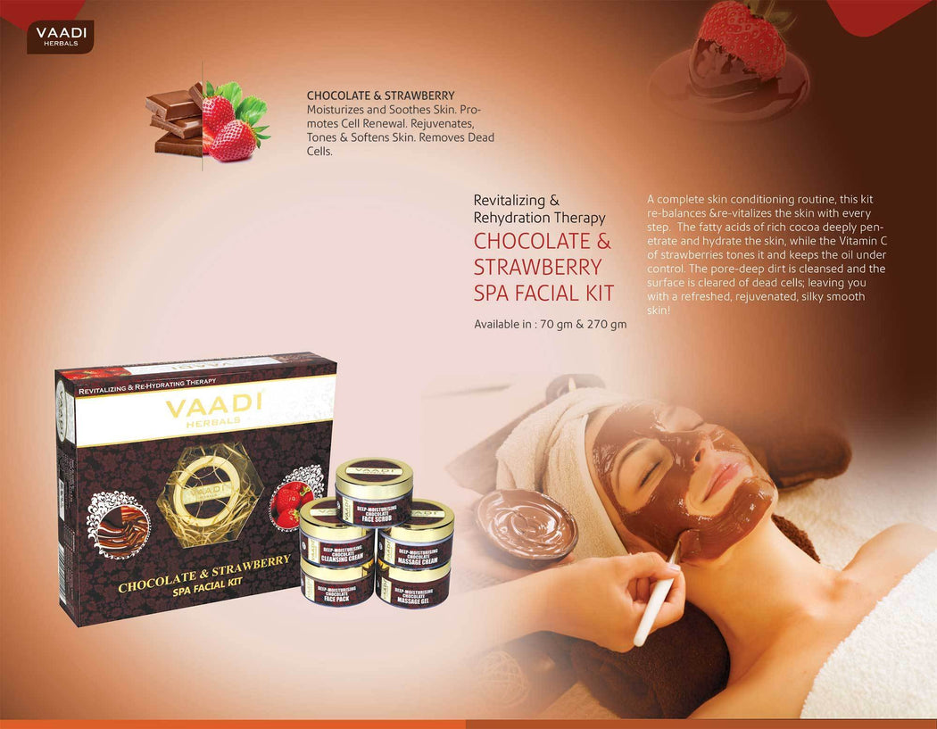 Organic Chocolate Facial Kit with Strawberry Extract - Deep Conditions & Tones Skin ( 270 gms/ 9.6 oz)