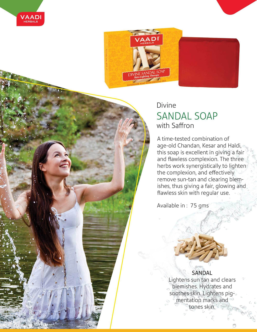 Organic Divine Sandal Soap with Saffron & Turmeric - Skin Lightening Therapy - Lightens Tan & Blemishes (6 x 75 gms / 2.7 oz)