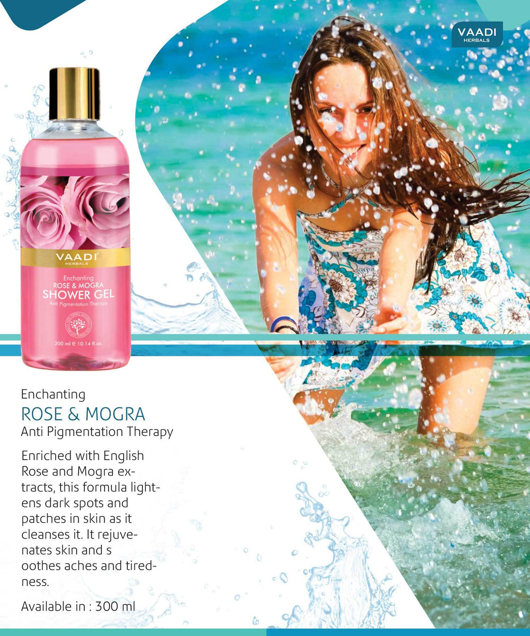 Enchanting Organic Rose & Mogra Shower Gel - Skin Brightening Therapy - Lightens Spots & Patches (300 ml / 10.2 fl oz)