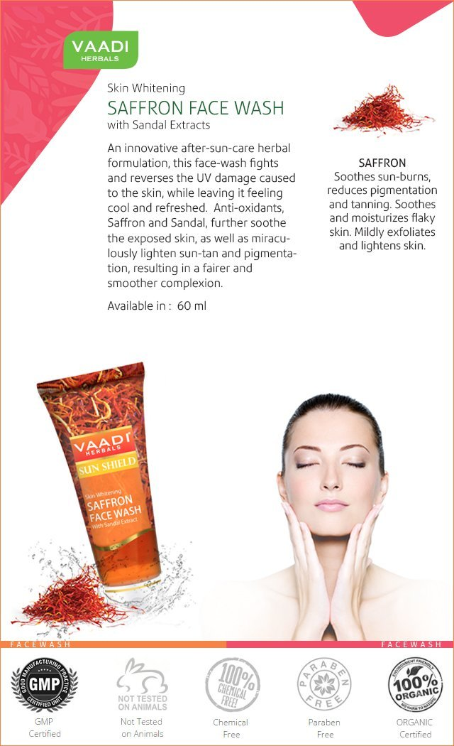 Skin Whitening Organic Saffron Face Wash with Sandalwood - Protects Skin from Sun - Lightens Pigmentation (60 ml/2.1 fl oz)