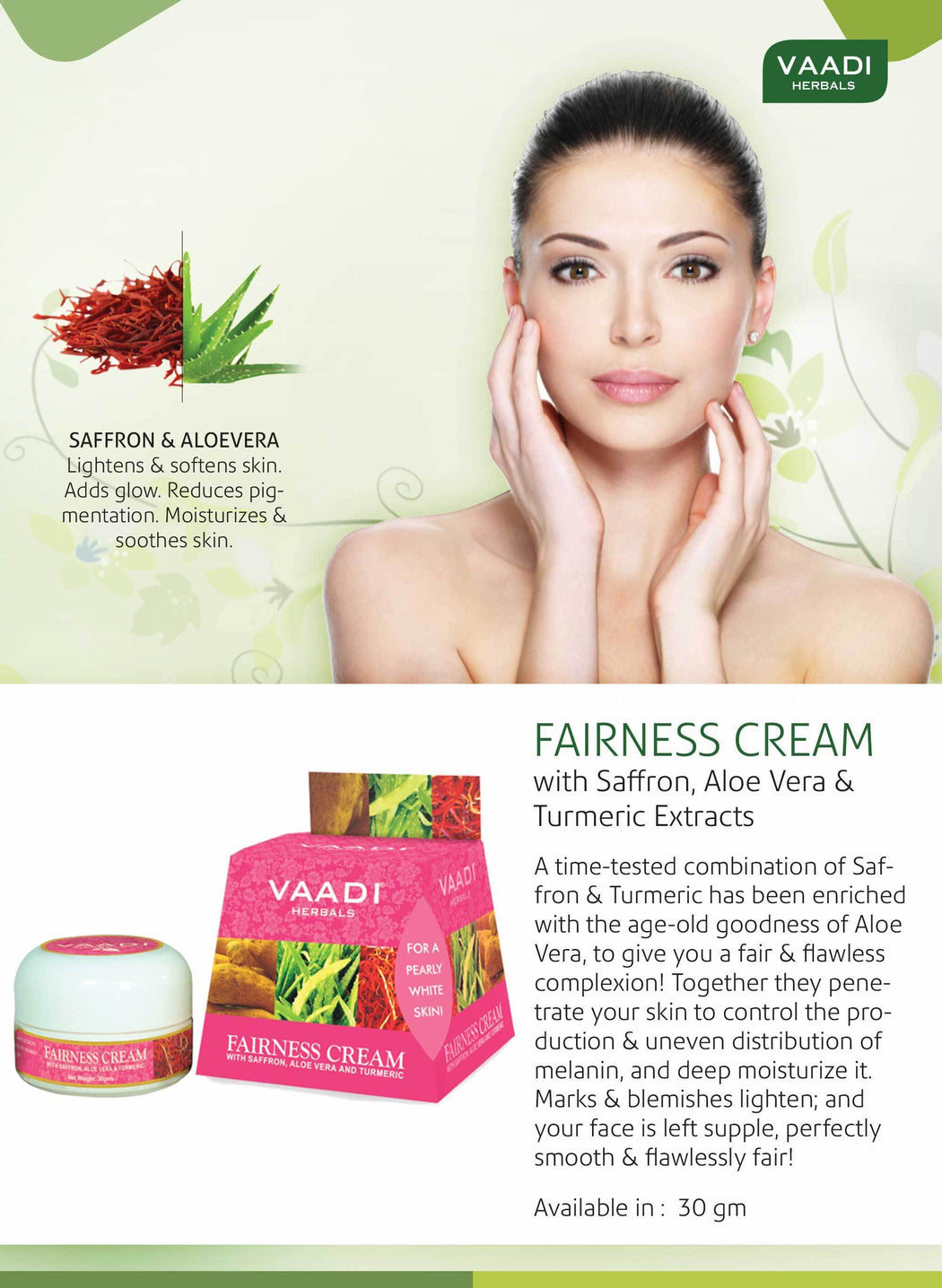 Organic Fairness Cream with Saffron, Aloe Vera & Turmeric Extract - Lightens Marks & Blemishes - Makes Skin Flawless (30 gms / 1.1 oz)