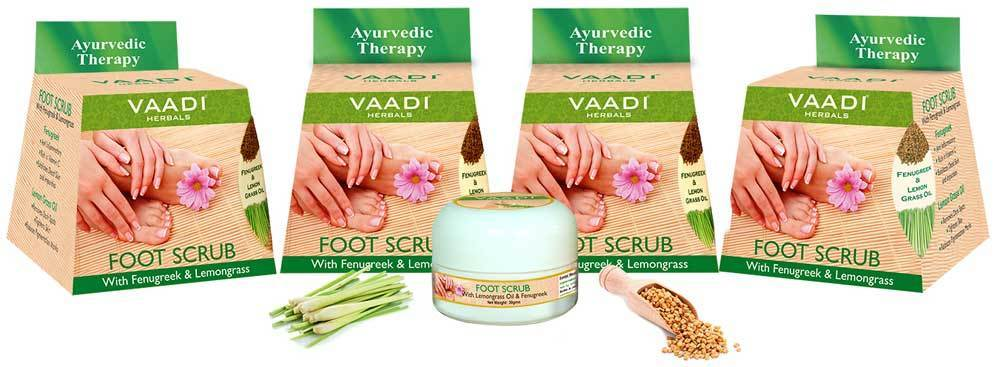 Organic Foot Scrub with Fenugreek & Lemongrass Oil - Therapeutic Exfoliates - Rejuvenates Damaged Skin - Softens Skin (4 x 30 gms / 1.1 oz)