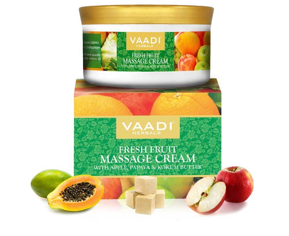 Organic Fresh Fruit Massage Cream with Apple, Papaya & Kokum Butter - Deep Nourishes - Enhances Complexion (150 gms / 5.3 oz)