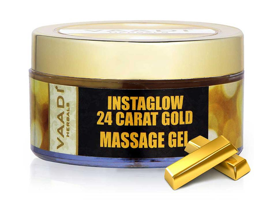 Organic 24 Carat Gold Massage Gel with Sandalwood & Turmeric - Clears Oil & Impurities - Makes Skin Luminous ( 50 gms / 2oz)