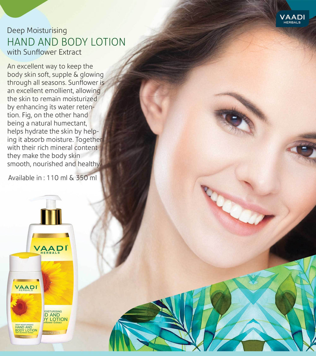 Organic Hand & Body Lotion with Sunflower Extract - Enhances Water Retention in Skin - Keeps Skin Soft (3 x 110 ml/4 fl oz)