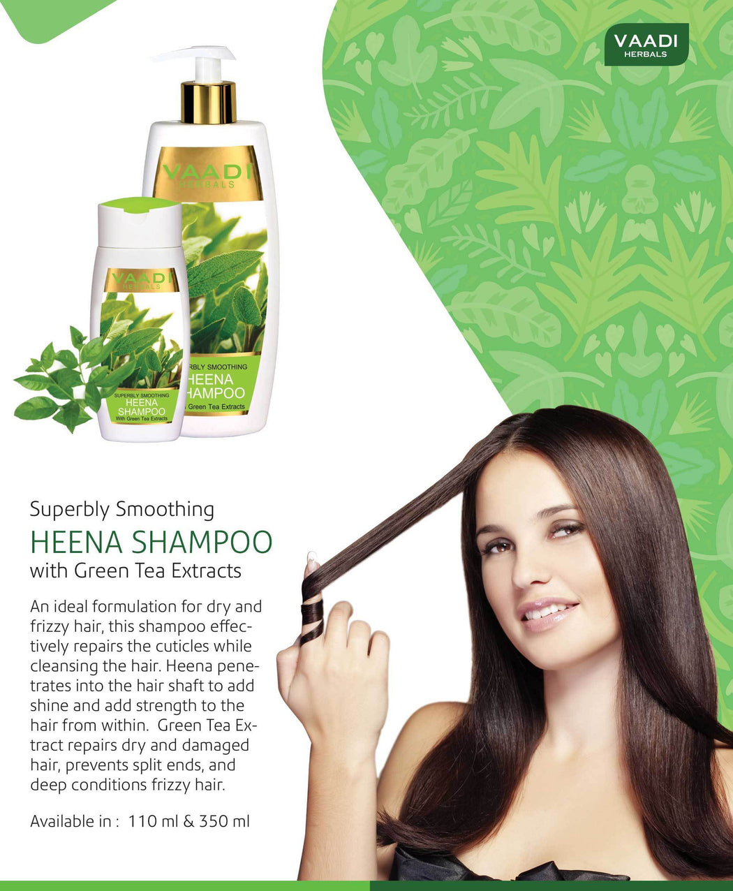 Superbly Smoothing Organic Heena Shampoo with Green Tea Extract - Controls Dry Frizzy Hair - Strengthens Hair (3 x 110 ml/4 fl oz)