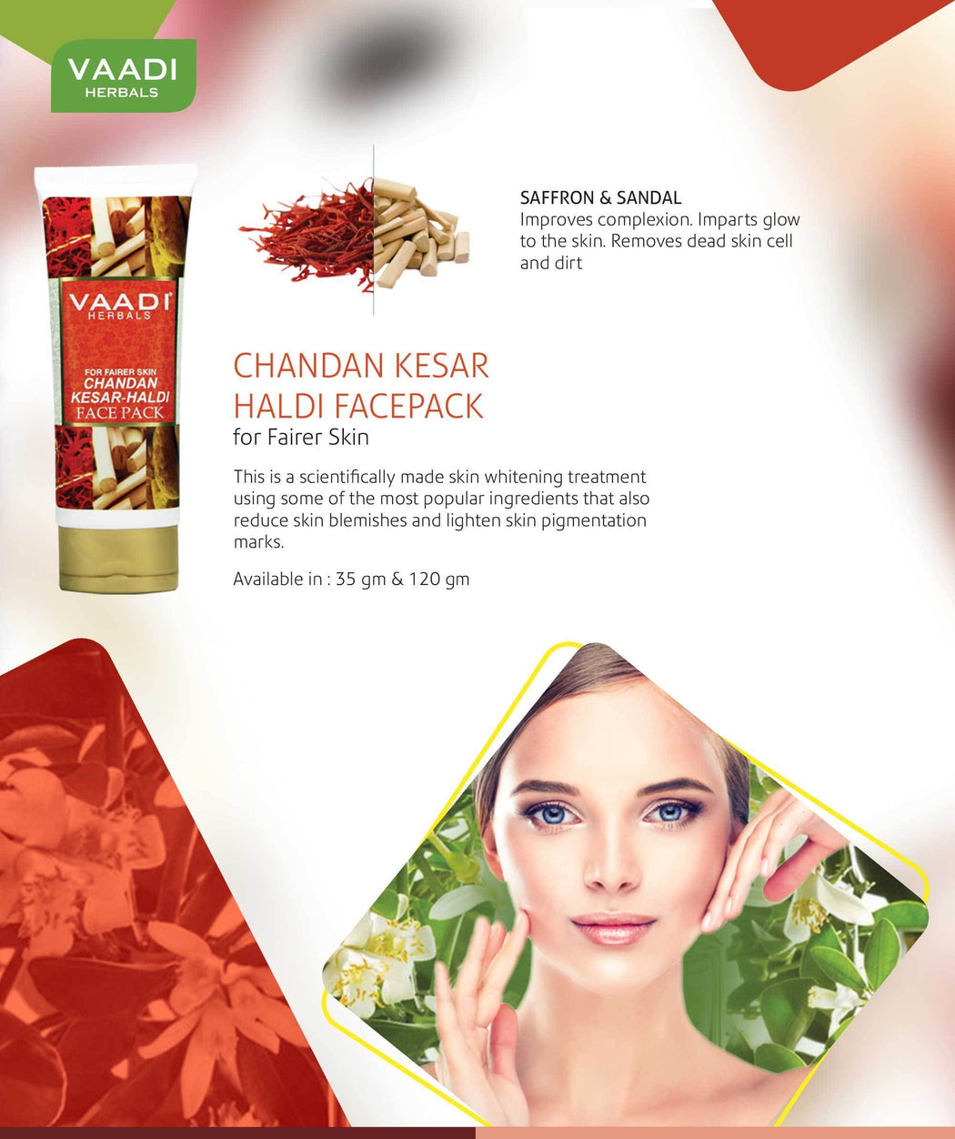 Organic Chandan Kesar Fairness Face Pack - Removes Marks and Lightens Skin Tone - Repairs and Protects Skin (120 gms/ 4.3 oz)