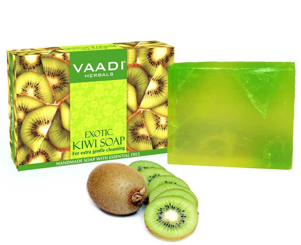 Exotic Organic Kiwi Soap with Green Apple Extract - Gently Clears Skin- Makes Skin Glowing (75 gms / 2.7 oz)