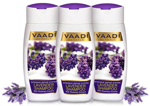 Intensive Repair Organic Lavender Shampoo with Rosemary Extract- Improves Hair Growth - Ultra Nourishing (3 x 110 ml/ 4 fl oz)