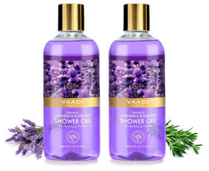 Heavenly Organic Lavender & Rosemary Shower Gel - Skin Rejuvenating Therapy - Relieves Puffiness (2 x 300 ml / 10.2 fl oz)