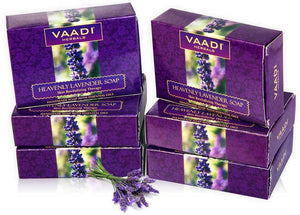 Heavenly Organic Lavender Soap with Rosemary - Revitalizes & Hydrates Skin (6 x 75 gms / 2.7 oz)